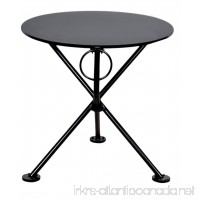 Mobel Designhaus French Café Bistro 3-leg Folding Coffee Table Jet Black Frame 20 Round Metal Top - B009P2XQE6