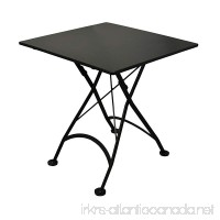 Mobel Designhaus French Café Bistro Folding Table Jet Black Frame 32 x 32 x 29 Height Square Steel Metal Top - B00B8MX1TQ