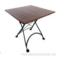 "Mobel Designhaus French Café Bistro Folding Table  Jet Black Frame  32"" x 32"" x 29"" Height  Square European Chestnut Wood Slat Top with Walnut Stain - B00QZ5CRGE"