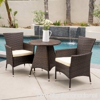 Outdoor Modern Contemporary Brown Patio Balcony Durable Comfortable Metal and Resin Wicker 3 Piece Bistro Conversation Set Seating - One Coffee Table  Two Arms Chairs - B010E40E5W