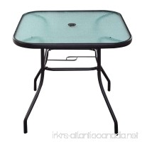 32 1/2 Patio Square Bar Dining Table Glass Deck Outdoor Garden Furniture New - B0763CGDWD