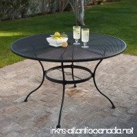 Belham Living Stanton 48 in. Round Wrought Iron Patio Dining Table by Woodard - Textured Black - B00CHT8QFS
