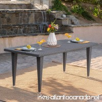 "Domina Outdoor 75"" Grey Wicker Rectangular Dining Table - B074HSS7SB"