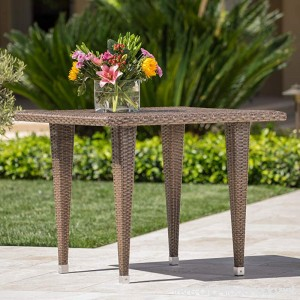 Dominguez | Wicker Outdoor Dining Table | Square | Perfect For Patio | in Mixed Mocha - B072HL3PN6