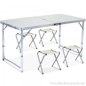 Foldable Outdoor Folding Table And Chairs Foldable Table Outdoor Table And Chair Combination Portable Aluminum Alloy Simple Picnic Table (Color : D) - B07G4BSHP4