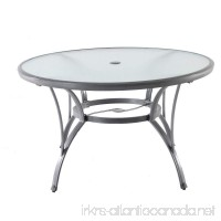 Hampton Bay Commercial Grade Aluminum Grey Round Glass Outdoor Dining Table - B079J53SFX