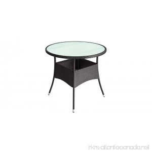 K&A Company Outdoor Poly Rattan Round Table Stylish Design 23.6x29 Black - B07F71Z1QZ