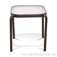 Never Rust Aluminum and Glass Outdoor End Table in Bronze - B07CZPT15T
