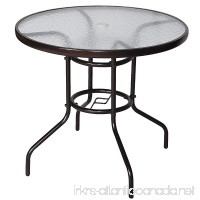 Ollypulse 32 Tempered Glass Top Patio Umbrella Table Outdoor Dining Table Dark Chocolate (Round) - B01K6P9RG6