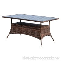 "Outsunny 60"" Outdoor Slat Top Rattan Dining Table - Brown - B06XQ8ZNVN"