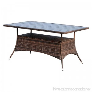 """Outsunny 60"""" Outdoor Slat Top Rattan Dining Table - Brown - B06XQ8ZNVN"""