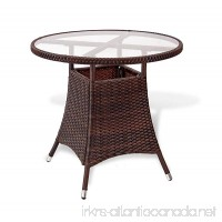 Patio Resin Outdoor Wicker Round 31.5 Inches Dining Table w/Glass Top. Dark Brown - B01IWQNQL8