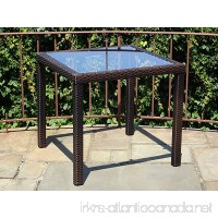 Patio Resin Outdoor Wicker Square 31.5 Inches Dining Table w/ Glass Top.Dark Brown - B01J4OR37A