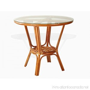 Pelangi Rattan Wicker Round Dining Table with Glass Top. Colonial color. - B0791LB9M5