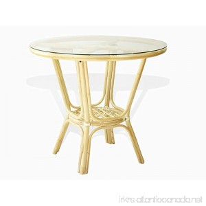 Pelangi Rattan Wicker Round Dining Table with Glass Top. White Wash color. - B0791MW8G8