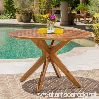 Stanford | Outdoor Acacia Wood Dining Table | Round | with Teak Finish - B071X3KSCP