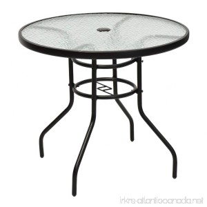 TANGKULA 31.5 Outdoor Patio Table Round Steel Frame Tempered Glass Top Commercial Party Event Furniture Conversation Coffee Table for Backyard Lawn Balcony Pool with Umbrella Hole - B0714N78S1