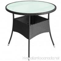 vidaXL Outdoor Table Poly Rattan 31.5x29 Black Patio Backyard Side Stand - B07FF6YFCR