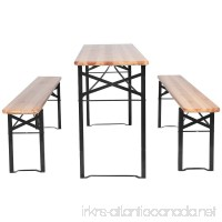 3 PCS Beer Table Bench Set Folding Wooden Top Picnic Table Patio Garden New for outdoor activities & garden use - B0755KY5NL