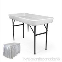 6 Foot Cooler Ice Table Party Ice Folding Table with Matching Skirt - White - B01M7YD6A6