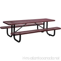 "8' Rectangular Expanded Metal Picnic Table  96""L x 62""W  Red - B06XBC6GR5"