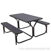Custpromo Picnic Table and Bench set all Weather Resistant Outdoor Steel Frame Wood-like Texture Outdoor Dining Garden Patio Camping Tables (Black) - B07DZXWJS4