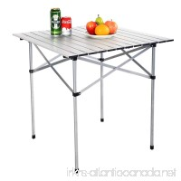 EVELOVE 28x28 Roll Up Portable Folding Camping Square Aluminum Picnic Table with Bag - B01KLX12FW