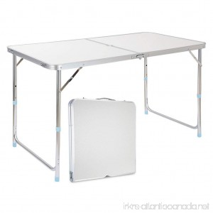 Finether Portable Folding Table Sturdy And Lightweight Steel Frame Legs 4 Adjustable Heights feet for Indoor/Outdoor Use Camping Picnic Party Dining White - B01EWA5XY6
