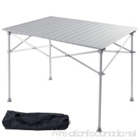 Giantex Portable Aluminum Folding Table Lightweight Outdoor Roll Up Camping Picnic Table with Storage Bag (40 L x 28 W) - B076GZ7S27