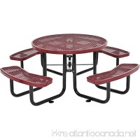 "Global Industrial 46"" Round Expanded Metal Picnic Table  Red - B06XB9VQN3"