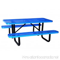 "Lifeyard 72"" Expanded Metal Mesh Commercial Blue Picnic Table with Attached Seats  Rectangular(Blue) - B01M4RRDIY"