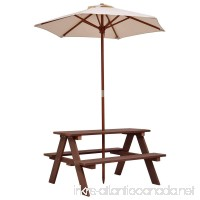 New Brown Kids Picnic Table Bench w/ Folding Umbrella Garden Yard Children Outdoor 4 Seat - B0768V2MGC
