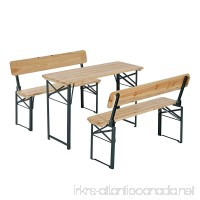 Outsunny 4' Wooden Folding Picnic Table Set w/Benches - B06Y6LSVH8