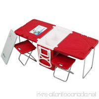 Red Multi Function Rolling Cooler With Table And 2 Chairs Picnic Camping Outdoor - B01M0DTKFL