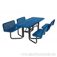 Suncast Commercial MPTPLC8101B Split Bench Metal Picnic Table  Blue - B01KNDAL7K