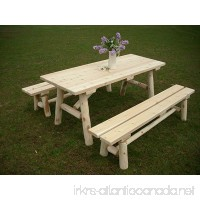 White Cedar Log Picnic Table with Detached Bench - 6 foot - B007Y7TN96