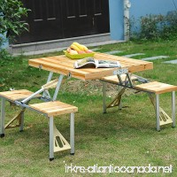 Wooden Picnic Table Bench Seat Outdoor Portable Folding Camping Aluminum w/ Case - B074QHMZ8W