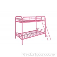 DHP Twin-Over-Twin Bunk Bed with Metal Frame and Ladder  Space-Saving Design  Pink - B077JHYRNP