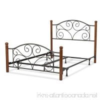 Doral Complete Bed with Metal Panels and Dark Walnut Wood Posts Matte Black Finish Queen - B002HWRBYM