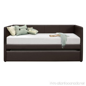 Homelegance Adra Fully Upholstered Daybed with Roll Out Trundle Bi-cast Vinyl Twin Dark Brown - B0716JY42Y