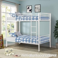 Merax Bunk Bed Twin-Over-Twin Metal Bunk Bed Bedroom Furniture in White - B07DKY3BXK