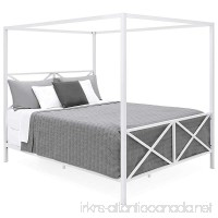 Best Choice Products Modern 4 Post Canopy Queen Bed w/Metal Frame Mattress Support Headboard Footboard - White - B07B878J9R