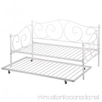 Daybed Metal Daybed Frame With Roll Out Trundle Combo Bedframe Heavy Duty Steel Slats - B07FXBC2ZG