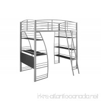 DHP Studio Loft Bunk Bed Over Desk and Bookcase with Metal Frame  Twin  Gray - B00RHH5176