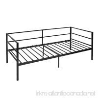GreenForest Daybed Frame Twin Steel Slats Platform Strong Support Box Spring Mattress Replacement Metal Day Bed Frame Foundation With Headboard For Living Guest Room Black - B074W73K35