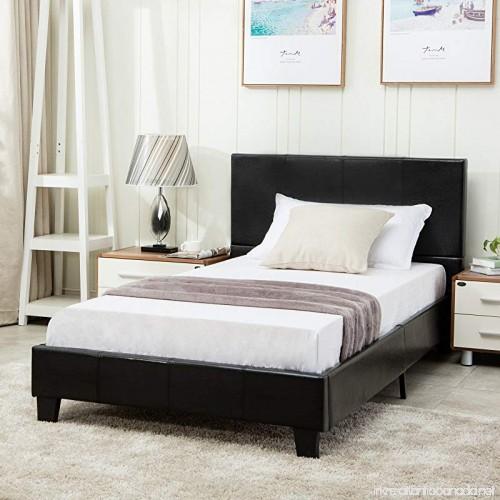 Mecor Faux Leather Bonded Platform Bed Frame/Upholstered Panel Bed ...