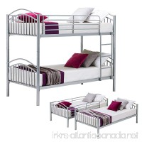 Mecor Twin over Twin Metal Removable Bunk Beds Frame Kids/Adult Children Bedroom Furniture with Ladder (Silver-Convertible) - B07B23HHB5