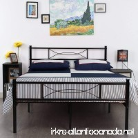 SimLife Metal Bed Frame Full Size 10 Legs Two Headboards Mattress Foundation Steel Double Platform Bed No Box Spring Needed Black - B01NBC7I7V