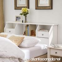 Revere Headboard with Storage Queen/Full Size Bookcase Drawers Wood White Shelves Modern Bedroom Headboard - B019J09HGO