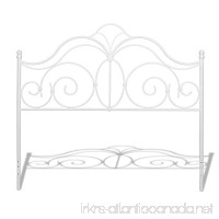 Rhapsody Metal Headboard with Curved Grill Design and Finial Posts  Glossy White Finish  Queen - B00HBWVZ6I